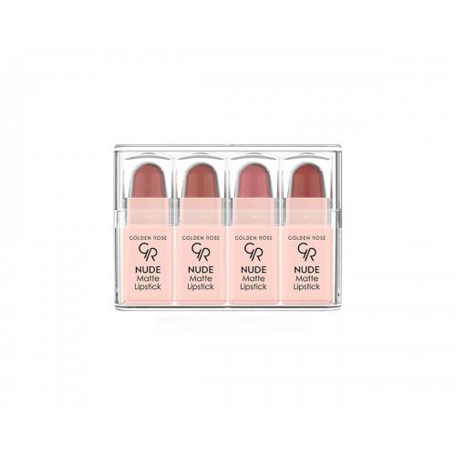 Golden Rose Nude Matte Lipstick Zestaw 4 matowych mini pomadek do ust Nude Look